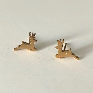 Gold Reindeer Earrings